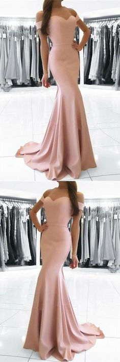 Simple blush pink party dress, off shoulder prom dress, mermaid long evening dress 51621 #RosyProm #fashionpromdress #charmingpromgown #longpartydress #simpleeveningdress #promdress #offshoulderpromgown