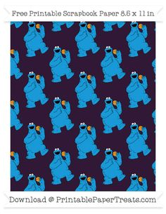 Free Dark Purple Large Cookie Monster Pattern Paper - Sesame Street