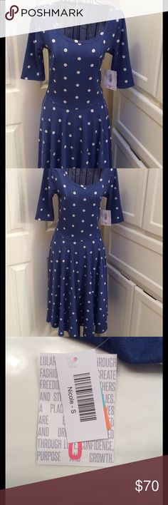 LuLaRoe Nicole Dress Perfect for spring! New with tags LuLaRoe Nicole dress.  Jersey like Blue material with white polka dots. 55% Rayon, 42% Polyester, 3% Spandex. LuLaRoe Dresses
