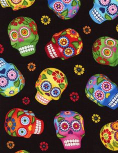 Tela FQ :: sugar skulls :: de nosgustanlosretros por DaWanda.com