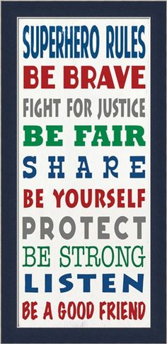 Amazon.com - Superhero Rules by Barn Owl Primitives Be Brave Fight for Justice 9.5x19.5 Framed Art Print Picture -