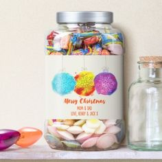Christmas Baubles Personalised Retro Sweet Shop Jar