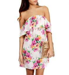 Ivory/Fuchsia Floral Print Dress