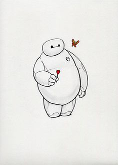 Baymax Big Hero 6 with Heart Lolly and Butterfly by HaywireVisions