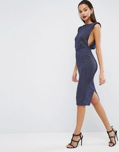 ASOS Low Armhole Glitter Midi Bodycon Dress - Shop for women's Dress - Navy