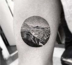 mountain and water circular gradient tattoo black and gray