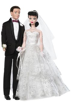 Wedding Day® Barbie® Doll and Ken® Doll Giftset | Barbie Collector ~ Designed by & Vintage Reproduction by: Bill Greening; Release Date: 6/1/2009, Product Code: P6750.     Barbie® and Ken® dolls make a romantic pair in this vintage reproduction set. The bride is a jet black #1 Ponytail reproduction. She wears a reproduction of Wedding Day Set #972. The groom is based on the #1 Ken® doll. His tux is also from 1961.