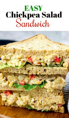 This Easy Chickpea Salad Sandwich is so delicious and easy to make smashed chickpeas celery red onion pickles red bell pepper dill vegan mayo lettuce nestled between slices of gluten-free bread is so hearty flavorful and filling. Lunch Recipes, Whole Food Recipes, Vegetarian Recipes, Dinner Recipes, Healthy Recipes, Soup Recipes, Vegan Chickpea Recipes, Vegan Sandwich Recipes, Party Recipes