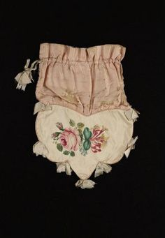 Drawstring bag, English, early 19th. MFA, 45.211. 11.25 x 9.25 in. Silk, cotton. Painted silk drawstring bag.