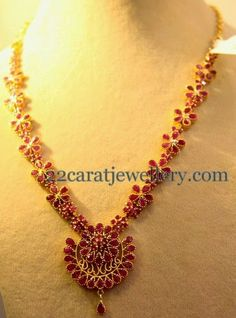 Jewellery Designs: 33gms Floral Ruby Necklace