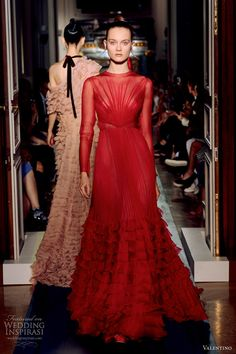 valentino fall 2012 couture red gown long sleeves ruffle skirt