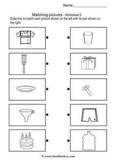 Printable brain teaser worksheets for kids in preschool, kindergarten, grade draw line to match each picture shown on the left with its pair shown on the right. Printable Brain Teasers, English Homework, Montessori Activities, Worksheets For Kids, Elementary Schools, Kindergarten, Preschool, Teaching, Pictures