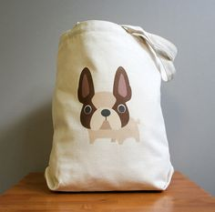 French bulldog tote, oh so cute and adorable. Sturdy 100% 10oz. cotton canvas.. $16.00, via Etsy.