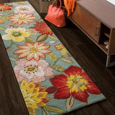 Nourison Hand-hooked Fantasy Aqua Runner Rug x - 14359849 - Overstock - Great Deals on Nourison Runner Rugs - Mobile Floral Area Rugs, Floral Rug, Floral Pillows, Rug Runners, Table Runners, Cheap Rugs, Floor Cloth, Stencil, Transitional Rugs