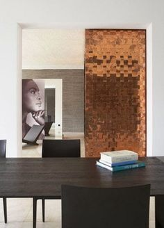 Love the copper wall.maybe make it a sliding door? M :: Copper wall