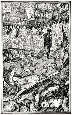 The King  of the gold mines encounters the four-and-twenty maidens.    Henry Justice Ford, from Prince Darling and other stories, by Andrew Lang, London, New York, Toronto, 1930.    (Source: archive.org)