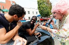 Netflix's Sense8 cast members Alfonso Herrera and Toby Onwumere attend Vancouver Pride Parade on August 6, 2017 in Vancouver, Canada.