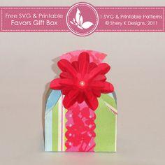 Free SVG & Printable Favors Gift Box | Sherykdesigns.com