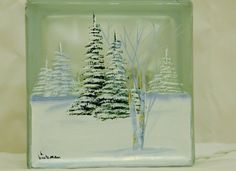 Glass Block LightSmallWinter TreesNight Light by bestemancreations, $30.00