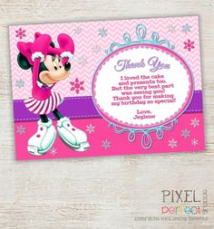 Pink Blue Purple Minnie Mouse Thank You Card, Minnie Thank You, Pink Minnie Mouse Polka Dot, Pink Minnie Mouse, gold glitter, chevron, polka dots, snowflakes
