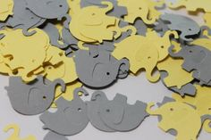 $2.15 for 100 pcs.  Cute Light Yellow and Light Grey Elephant Die Cut Confetti perfect for baby showers