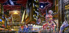 Iron Maiden's Somewhere In Time, front and back cover as one piece of art. IronMaidenWallpaper.com
