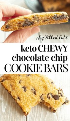 chocolate chip cookie dough Keto Chocolate Chip Cookie Bars - Low Carb, Gluten-Free, Grain-Free, Sugar-Free, THM S - These easy cookie bars remind me of the store-bought cook Low Carb Desserts, Low Carb Recipes, Real Food Recipes, Dessert Recipes, Cookie Recipes, Snack Recipes, Snacks, Dessert Ideas, Vegetarian Recipes