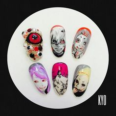 xxxkyoxx's photo on Instagram amazing nails :3 Anime Nails, Ayato, Nail Patterns, Kaneki, Nail Tutorials, Tokyo Ghoul, Fun Nails, Nailart, Manicure