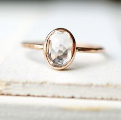 Dainty Gold Ring, Engagement Ring, White Topaz Ring, Yellow Gold Ring, Rose Gold Ring, Gemstone Ring, Gold Ring, Mothers day Ring, Oval Ring by Luxuring on Etsy https://www.etsy.com/ca/listing/225764965/dainty-gold-ring-engagement-ring-white