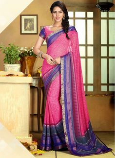 Hot Pink Lace Border and Printed Work Trendy Saree