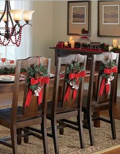 Christmas Dining Room Chair Covers Modern Rolling Chairs 73 Best Images Crafts 2013 Bow Cover Set Red Pine Tree Branch