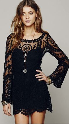 SHEINSIDE Womens Fashion Clothing | Black Long Sleeve Embroidery Crochet Sheer Shift Dress | Just USD $18.99 | http://sett.com/womensfashionclothing