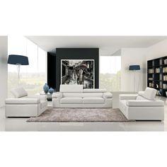 Atlantis Modern White Bonded Leather Sofa Set