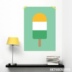 A sweet pink poster with an icecream in 3 colors, super sweet! by Oktoberdots My Dream Home, Color Patterns, Dots, Mint, Graphic Design, Icecream, A3, Poster, Colour