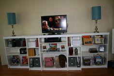 Bookshelves as entertainment center