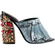 Gucci Trompe L'oeil Sequin Embellished Block Heel Mules (€1.285) ❤ liked on Polyvore featuring shoes, gucci, heels, blue, multi color shoes, heeled mules, embellished heel shoes and blue block heel shoes