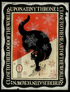 """chercat: tattoome: Black cat - painting by christopher conn askew """"upon a tiny throne"""" c. askew (via sekretcity) Black Cat Painting, Black Cat Art, Baby Cats, Cats And Kittens, Illustrations, Illustration Art, Graphisches Design, Graphic Design, Cat Posters"""