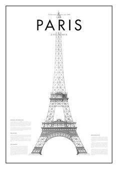 Cartel de mínima torre Eifel de París blanco y negro por PurePrint