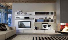 contemporary lacquered wood TV wall unit MODIGLIANI by Piergiorgio Pradella BRUNO PIOMBINI