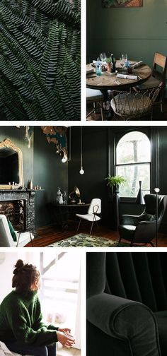 Since I don't get much sun in my home, I tend to gravitate towards lighter  colours but that doesn't mean I haven't had the urge to go dark. There's  something about hunter green that makes everything come alive. Whether it's  paired with white, wood, gold or black – I'm loving it's versatility. I  would love to know your thoughts on this colour in the comments below! -  Amy  Sources:  1. Ferns, Fawn Deviney 2. Dining Table, Marte Marie Forsberg 3.  Living Room, Inside Out 4. Sweater, Jester…