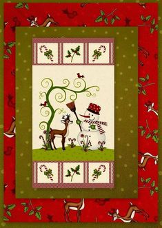 Fabric Quilting SewingCraft Panel Christmas Stocking Puffin