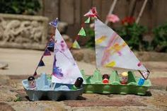 Egg carton craft - sailboat! So cute!! Then you can sail them in a big puddle outside on a rainy day or a pond or lake nearby.