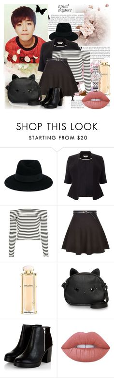 """""""Forever Young~Youngjae"""" by niamho99 ❤ liked on Polyvore featuring Maison Michel, Studio 8, 10 Crosby Derek Lam, Salvatore Ferragamo, Loungefly, Lime Crime and Tommy Hilfiger"""
