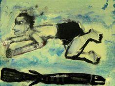 Swimmers Outsider T Marie Nolan Raw Folk Art Brut Original Painting Fish | eBay