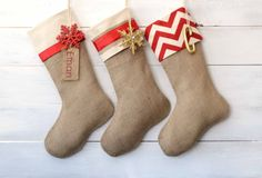 Christmas Stocking  Red & Ivory Collection  Set by TwentyEight12, $105.00