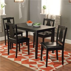 Black 5-piece Kaylee Dining Set | Overstock.com Shopping - Big Discounts on Dining Sets