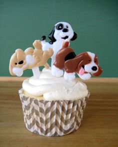 Puppy Dog Cupcake Topper - 12 Cupcake Picks for a Puppy Party by MyLittleOtter on Etsy