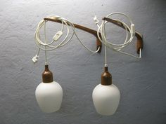 TEAK AND GLASS SWING ARM WALL PENDANT LAMPS PAIR | eBay