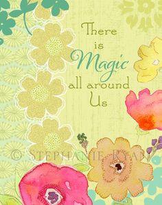 Inspirational Mixed Media, Watercolor, Illustration Art Print, Magic. $22.00, via Etsy.