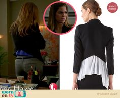 Marisol's black cropped blazer with high back on Devious Maids Ana Ortiz, Devious Maids, Cropped Blazer, Helmut Lang, Fashion Outfits, Chic, Fashion Design, Coats, Clothes